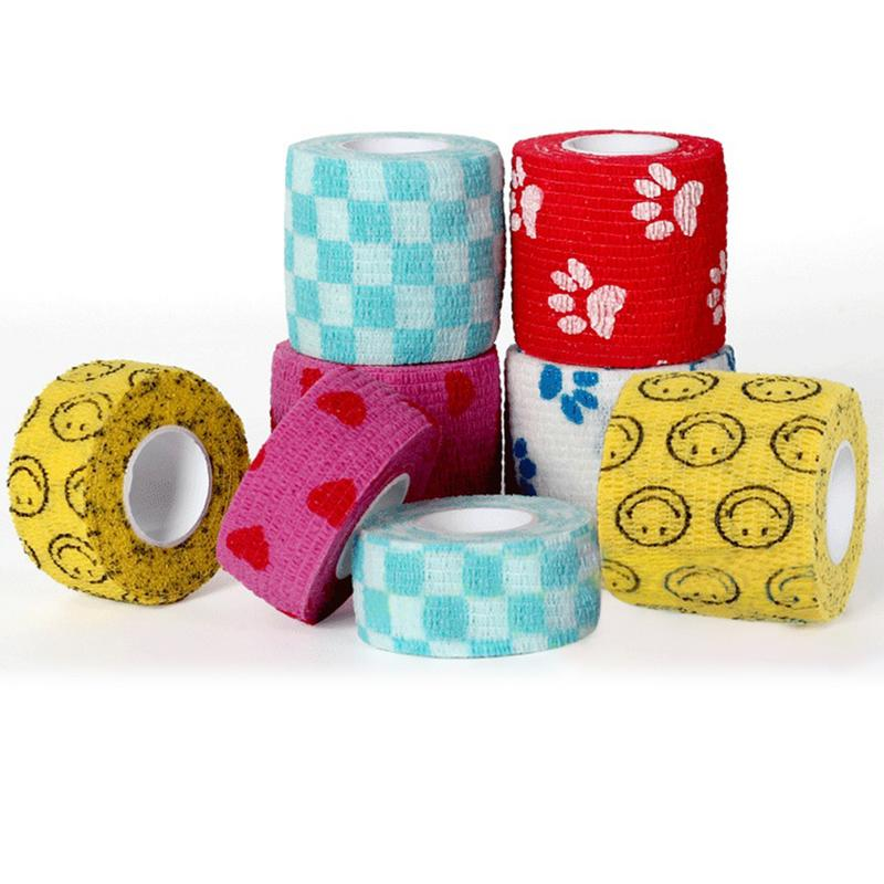 Self-adhesive Elastic Bandage Non-Woven Fabrics Pets Dog Cat Multifunctional Bandage With Decorative Patterns Pet Supplies