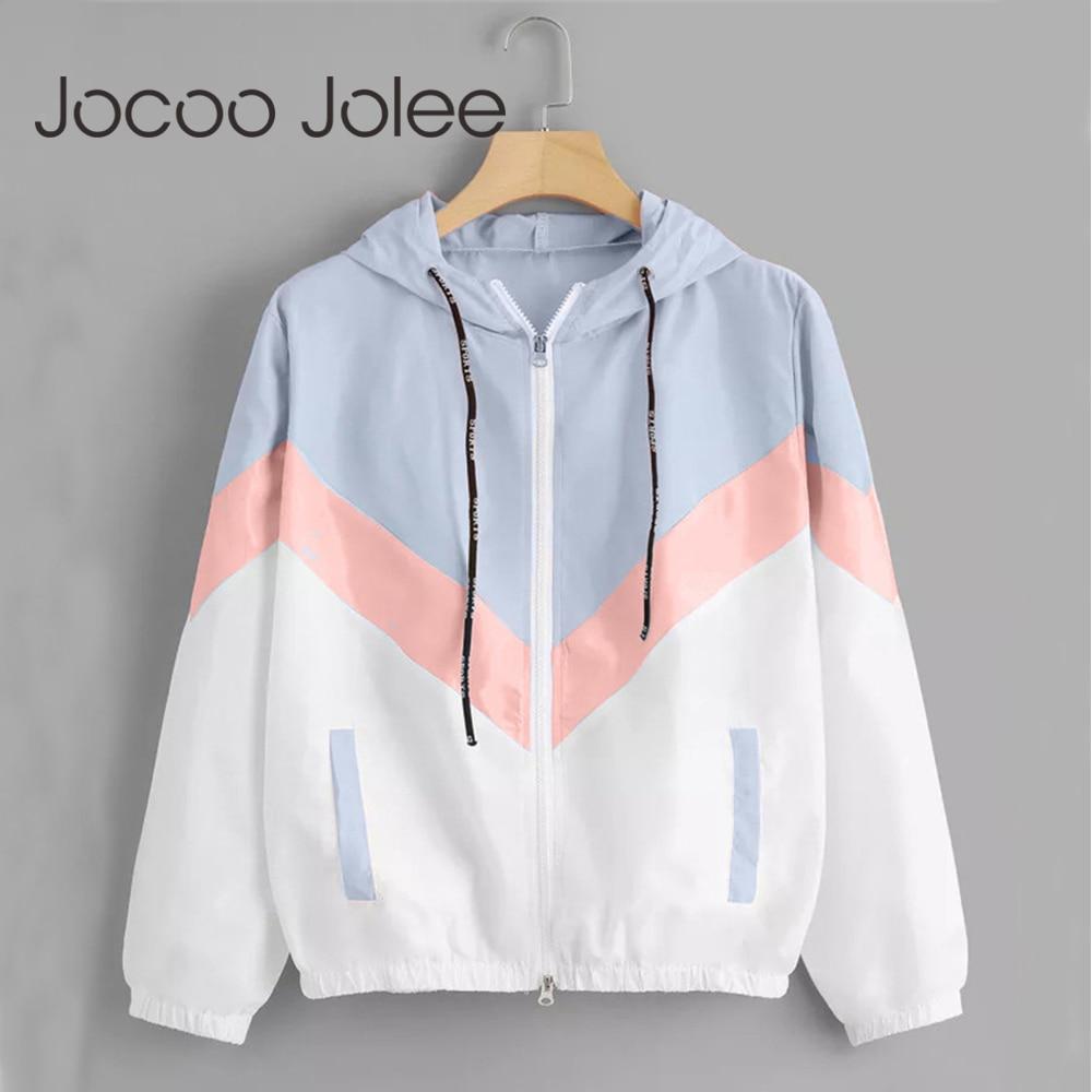 Jocoo Jolee Fashion Hooded Windbreaker Jacket Patchwork Jackets Women Color Block Zipper Jacket 2018 Fall Casual Coats Outerwear