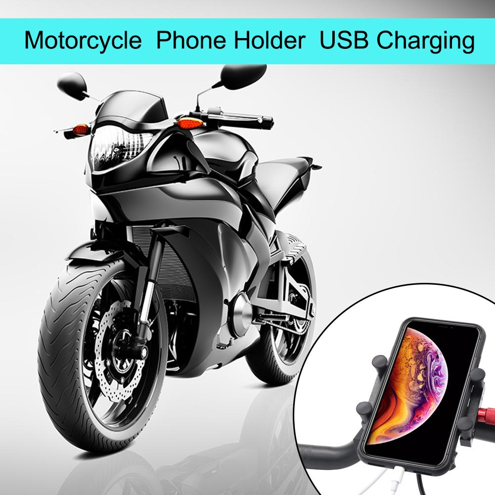 NEW Style 12/24V Motorcycle Aluminum Alloy Mobile Phone Charging Holder Rearview Mirror Faucet Stand