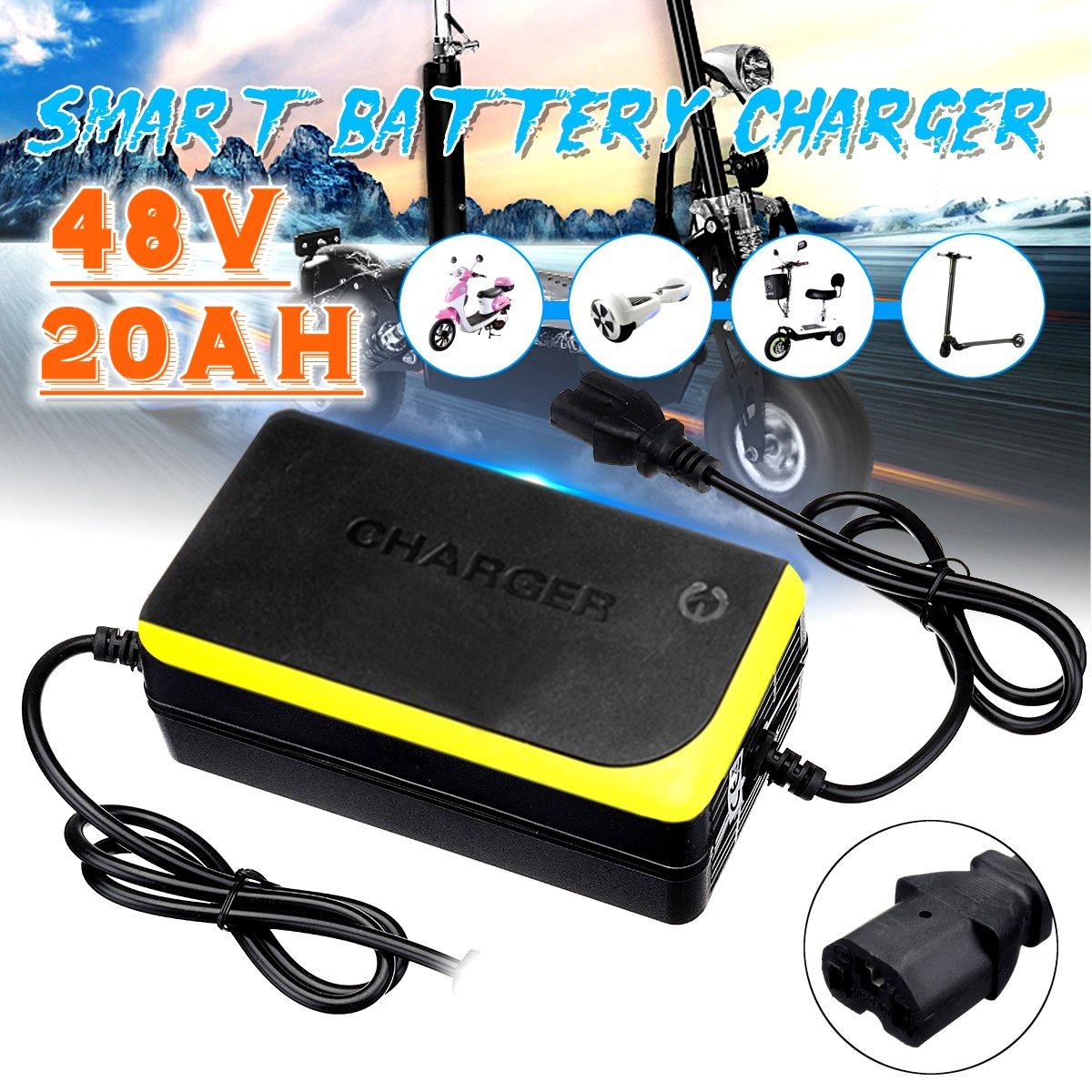 48V 20AH Electric Bicycle Bike Scooters Motorcycle Charger Smart Power Supply Lead Acid Battery Charger 48V 1.8A 20AH