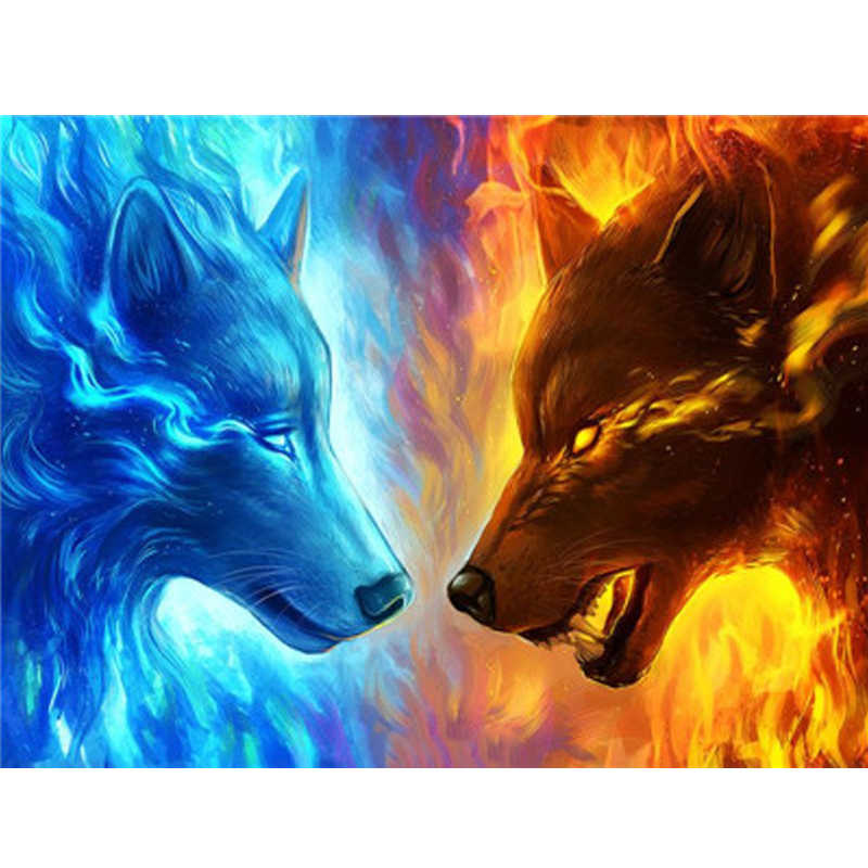 Wolf Oil Paint DIY Paintings By Numbers Coloring By Number Colorful Animals Home Decoration 40*50cm
