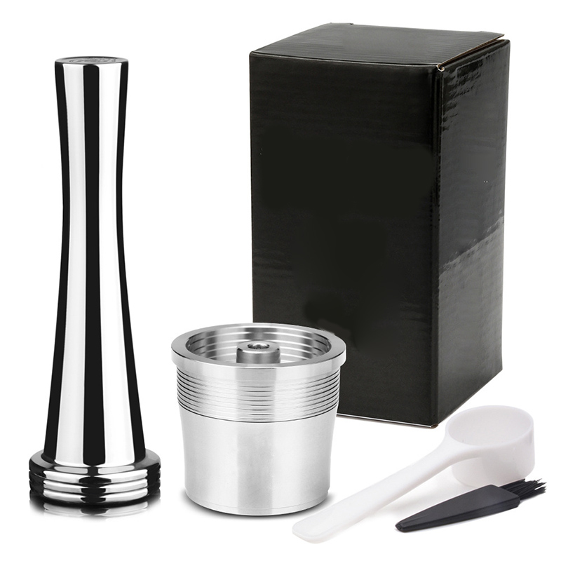 Coffee Baskets Coffee Filter Coffee Machine 1 Set Reusable Stainless Steel Tamper Cafe Capsules Cup Refillable