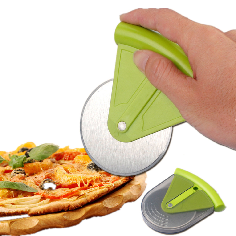 Small Stainless Steel Pizza Wheel Cutter Slicer Knife With ABS Cover Kitchen Aid Pie Cake Tools нож для пиццы