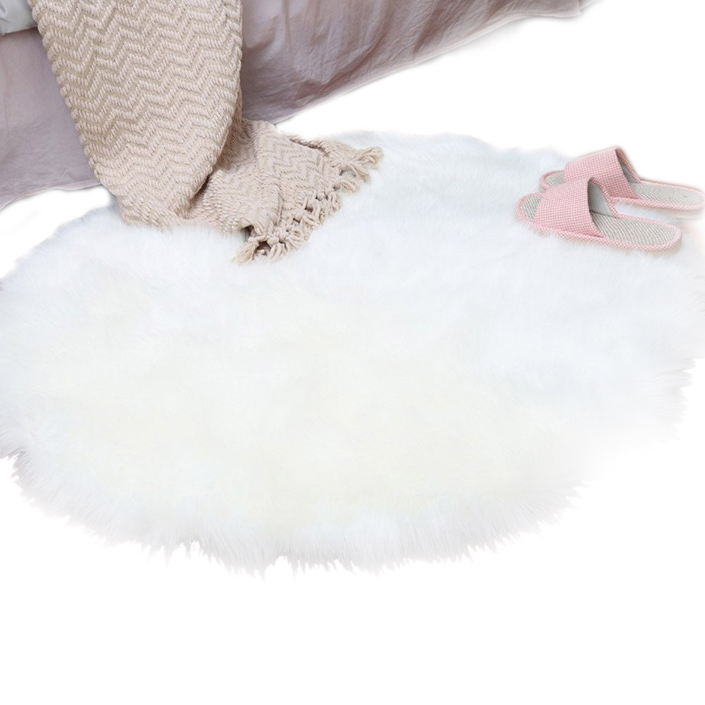 Faux Sheepskin Wool Carpet 30 X 30 Cm Fluffy Soft Longhair Decorative Carpet Cushion Chair Sofa Mat (Round White)