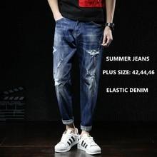 Mannen Jeans Fashions Ripped Fit Denim Hip Hop Mens Harem Jean Plus Size 42 44 46 Zomer Enkellange Katoen broek Cowboy Broek