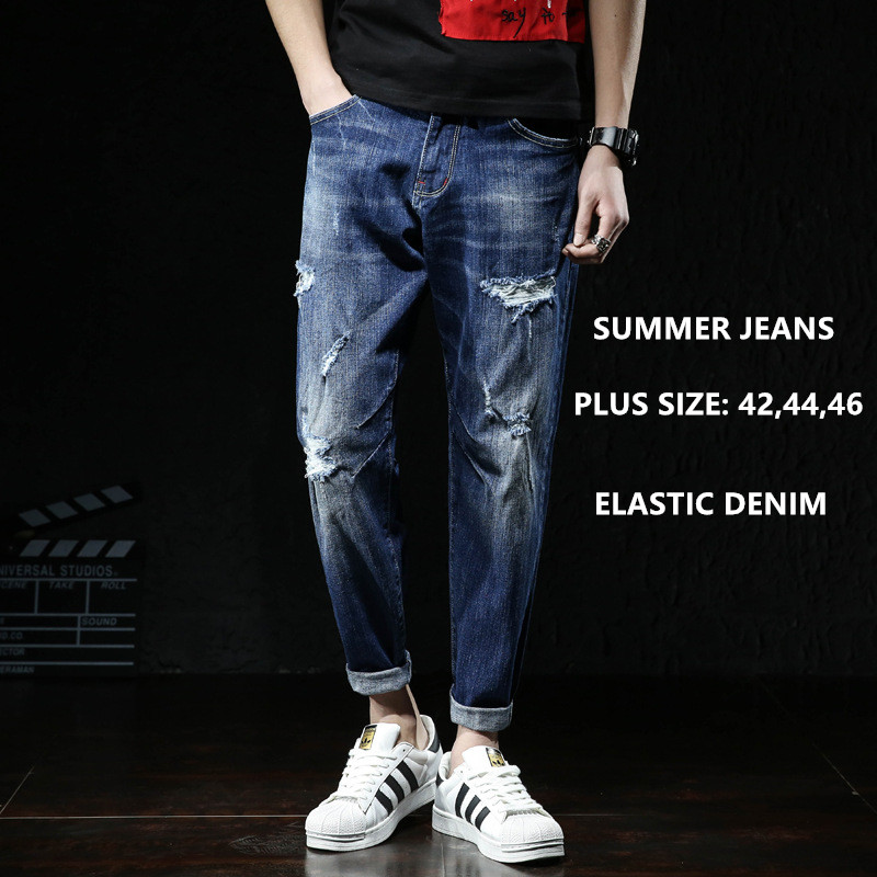 Men Jeans Fashions Ripped Fit Denim Hip Hop Mens Harem Jean Plus Size 42 44 46 Summer Ankle Length Cotton Trousers Cowboy Pants