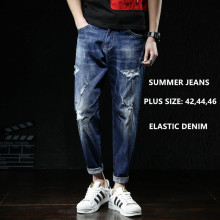 Men Jeans Fashions Ripped Fit Denim Hip Hop Mens Harem Jean Plus Size 42 44 46 Summer Ankle Length Cotton Trousers Cowboy Pants drizzte summer mens thin lightweight stretch denim jeans casual fit loose relax trousers pants plus size 33 34 35 36 38 40 42