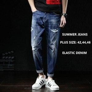 Men Jeans Fashions Ripped Fit Denim Hip Hop Mens Harem Jean Plus Size 42 44 46 Summer Ankle Length Cotton Trousers Cowboy Pants