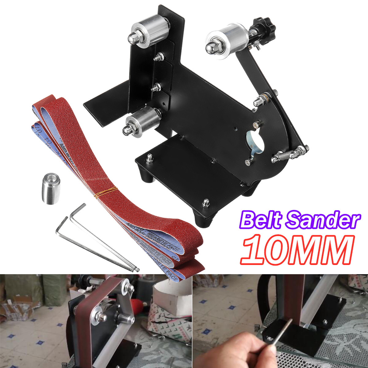 DIY 10mm Angle Grinder Sanding Belt Rack Sander Attachment Polishing Woodworking Tools Set Metal Wood Sanding Machine Adapter