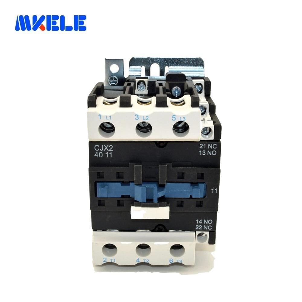 AC Contactor CJX2-4011 40A 3 Phase Coil Voltage 380V 220V 110V 36V 24V 3P+1NO+1NC 50/60Hz Din Rail Mounted makereleAC Contactor CJX2-4011 40A 3 Phase Coil Voltage 380V 220V 110V 36V 24V 3P+1NO+1NC 50/60Hz Din Rail Mounted makerele