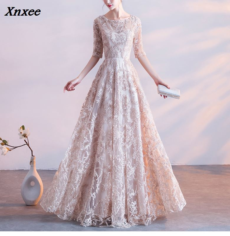 Xnxee Half Sleeves Appliques O-neck Elegant Tulle Flower Zipper Luxury Party Formal Dress Floor Length Ess Xnxee