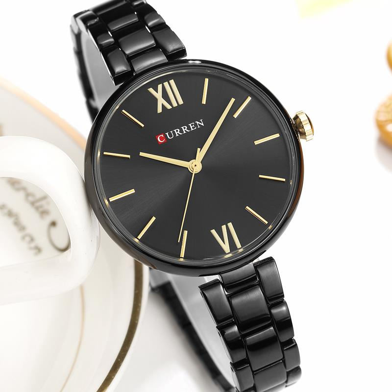 New Women Watches Luxury Brand Watch Rose Gold Women Quartz Clock Creative Wood Pattern Dial Fashion Wristwatch CURREN 9017