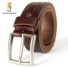 FAJARINA Mens Fashion Unique Design Striped Quality Solid Cow Genuine Leather Belts Male Dress Accessories Belt for Men FJ18031
