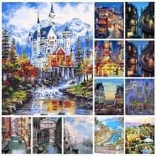 AZQSD безрамный городской пейзаж DIY цифровая картина маслом по номерам Европа Абстрактная Картина на холсте гостиная настенная живопись SZYH6063