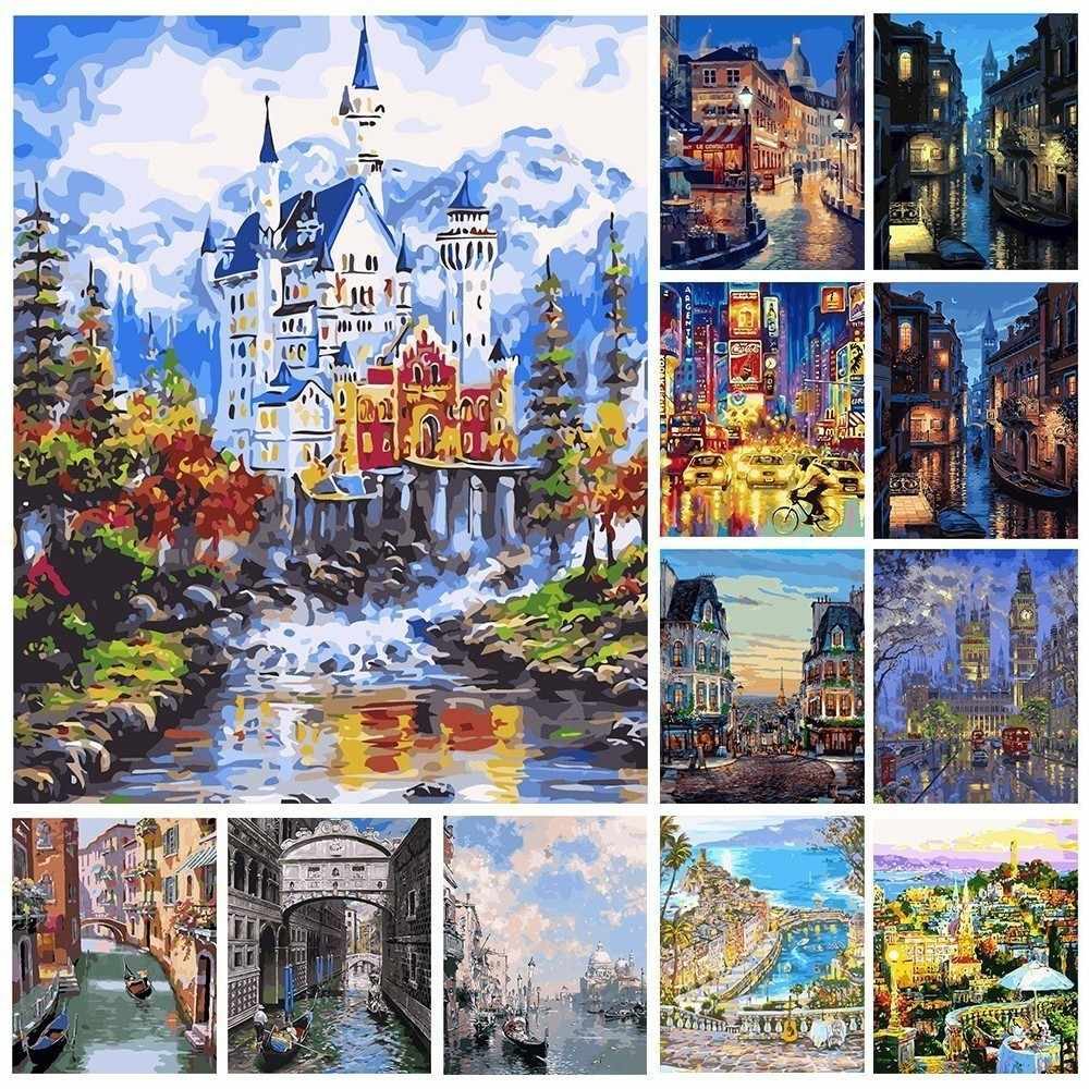 AZQSD Frameless City Landscape DIY Digital Oil Painting By Numbers Europe Abstract Canvas Painting Living Room Wall Art SZYH6063