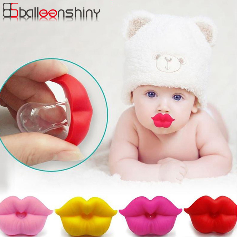 Balleenshiny Baby Pacifier Clip Red Kiss Lips Dummy Pacifiers Funny Silicone Baby Nipples Teether Soothers Pacifier Baby Care