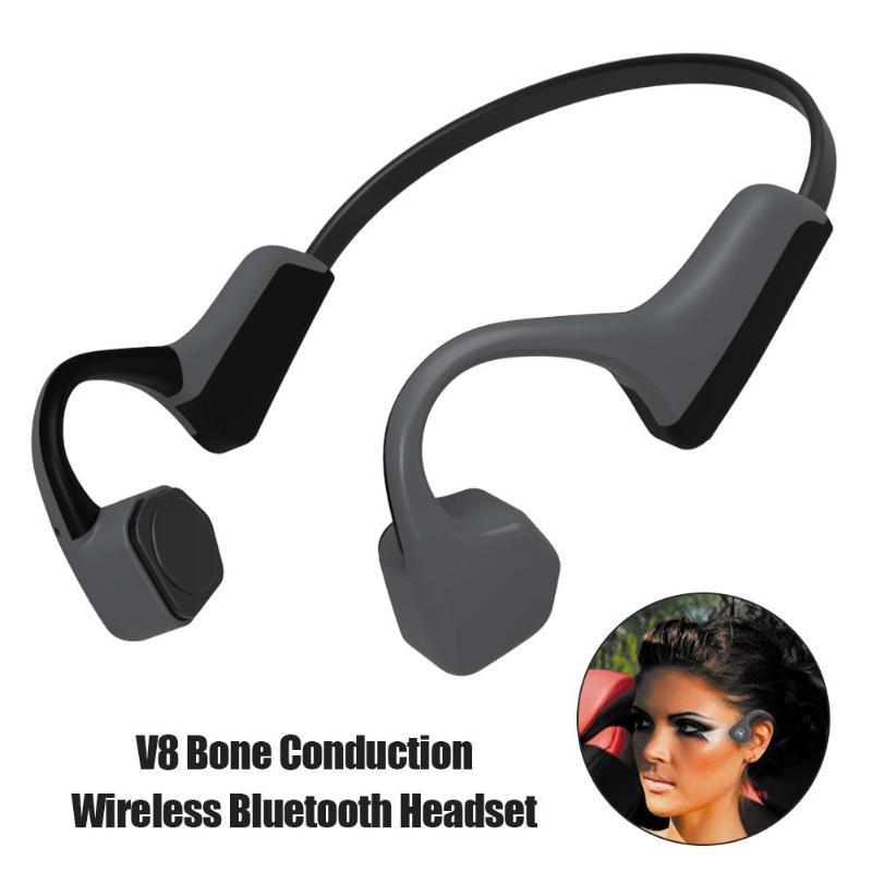 V8 Bluetooth Sans Fil Conduction Osseuse Casque En Plein Air Run Sport Haute Qualité Musique Basse Casque pour Mic Bluetooth Écouteurs