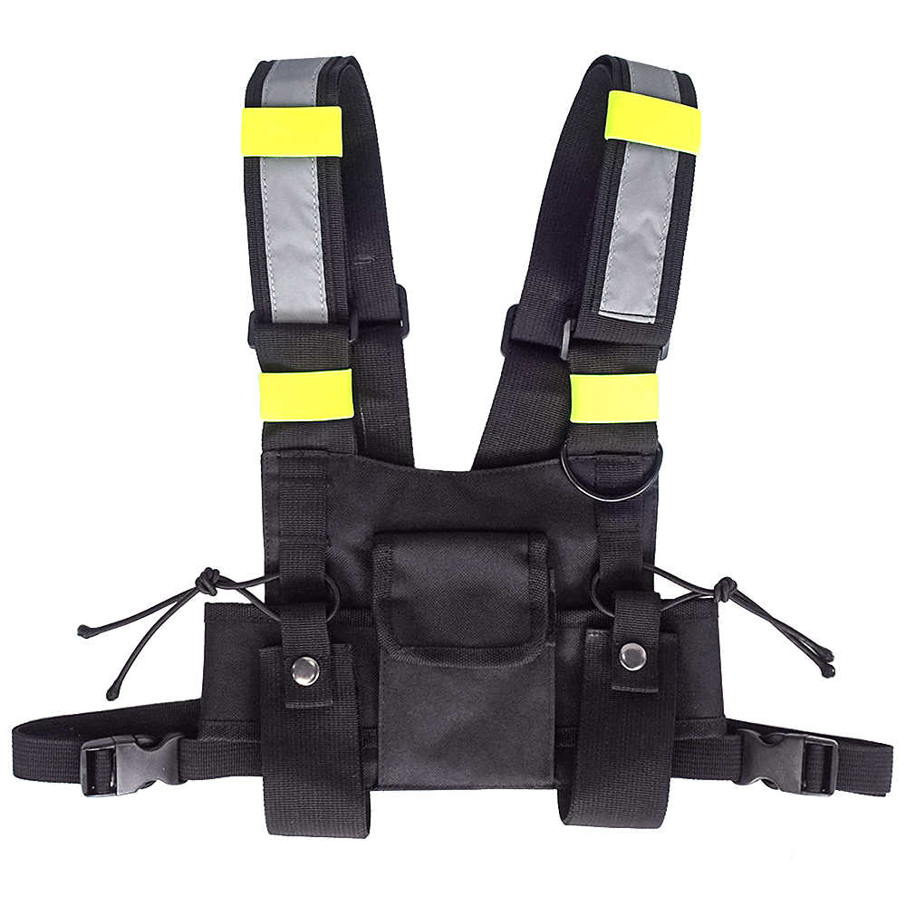 97a550bd76b9 Tactical Vest Outdoor Hunting Vest Highly Visible Reflective Radio Chest  Rig Front Pack Pouch Holster Bag for Walkie Talkie