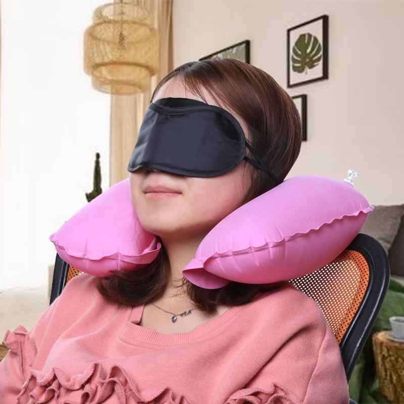 Coussin d'air de repos de tête de voiture de cou gonflable d'oreiller de voyage en forme de U pour l'oreiller de cou de repos de tête de sieste de bureau de voyage avec la couverture d'yeux