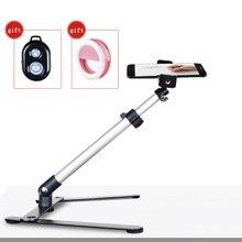 Fotografia ajustável tampo de mesa mini monopod conjunto suporte de liga de alumínio + telefone clipe de luz de preenchimento de controle bluetooth