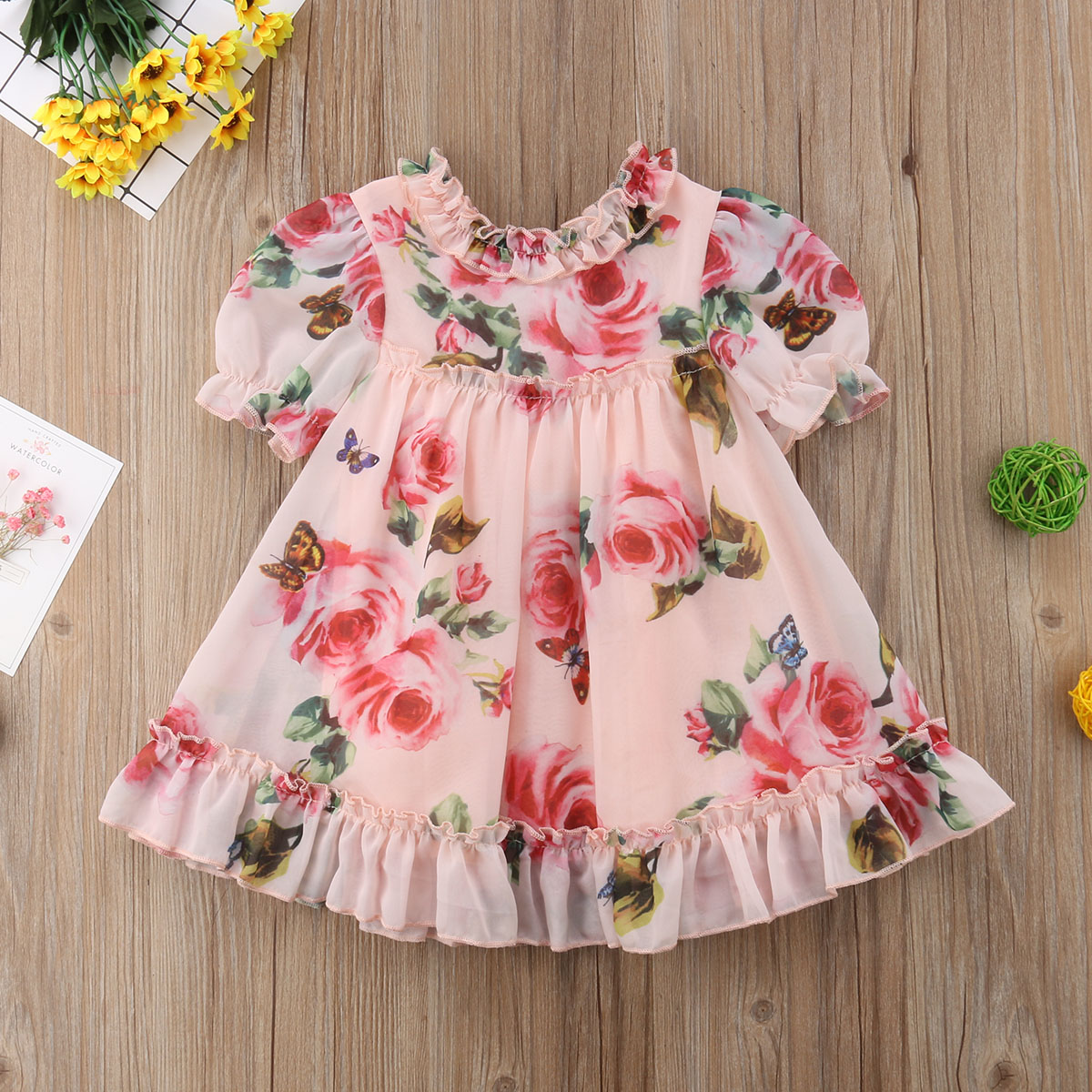Pudcoco Cute Baby Girls Dress Flower Puff Sleeves A -line Dress For Baby Girls Holiday Party Baby Girls Clothing