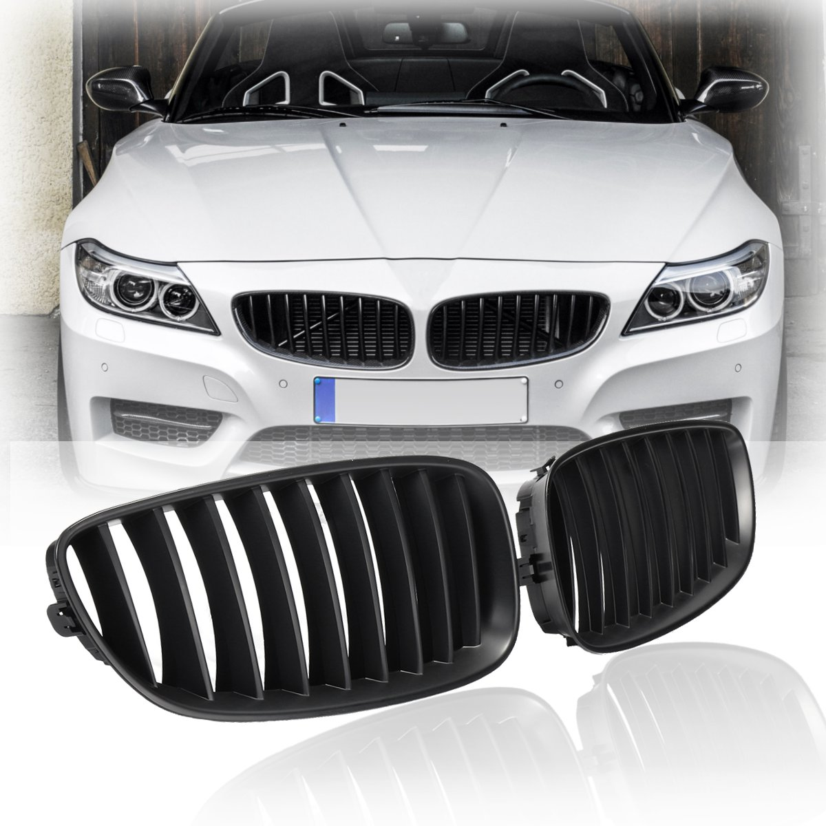 For BMW Z4 E89 2008 2009 2010 2011 2012 2013 2014 2015 2016 Pair New Matte Black Front Kidney Grill Grille ReplacementFor BMW Z4 E89 2008 2009 2010 2011 2012 2013 2014 2015 2016 Pair New Matte Black Front Kidney Grill Grille Replacement