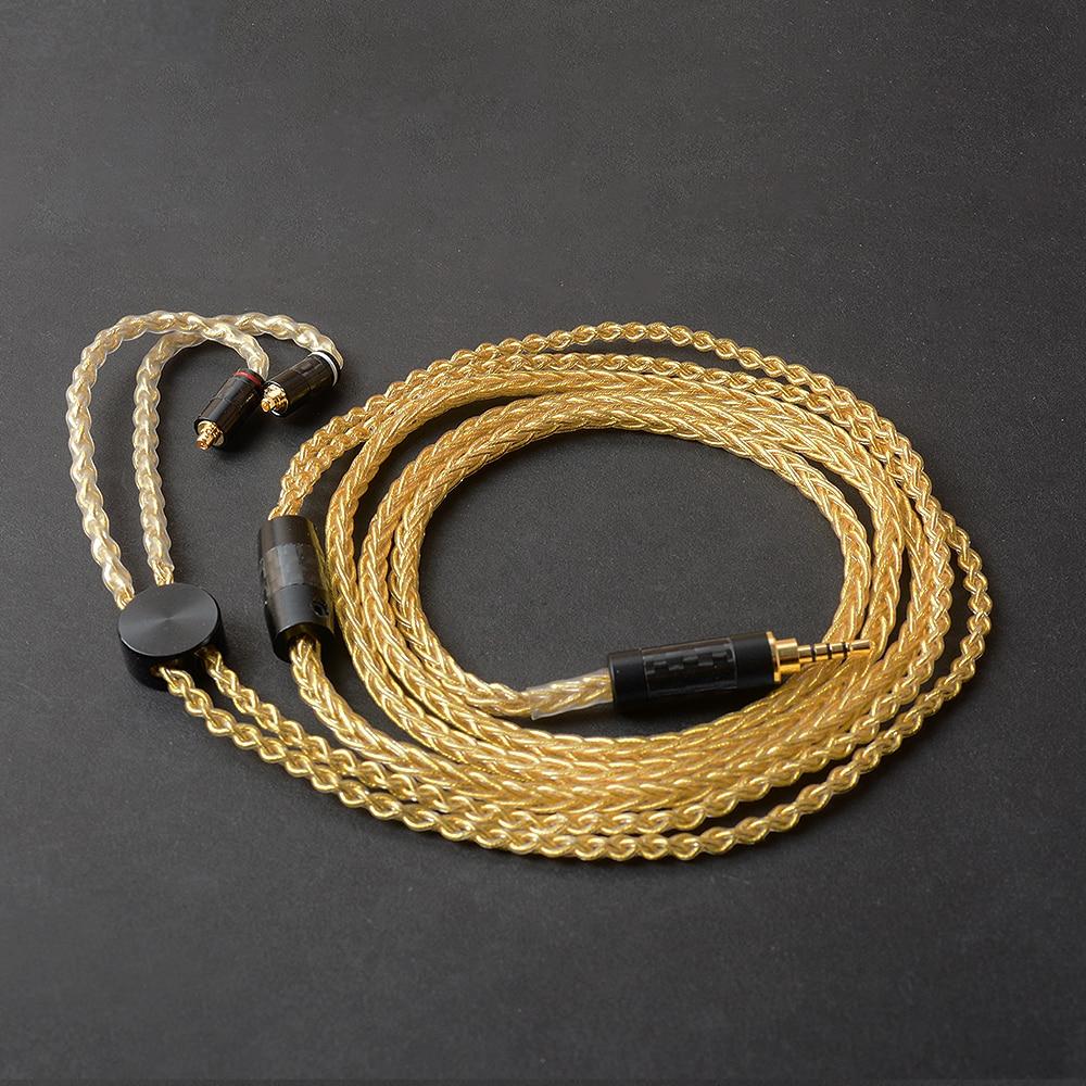 OKCSC 2.5mm/3.5mm/4.4mm prise MMCX connecteur Jack mise à niveau câbles écouteurs cordon monocristallin cuivre plaqué argent pour SE535/W60
