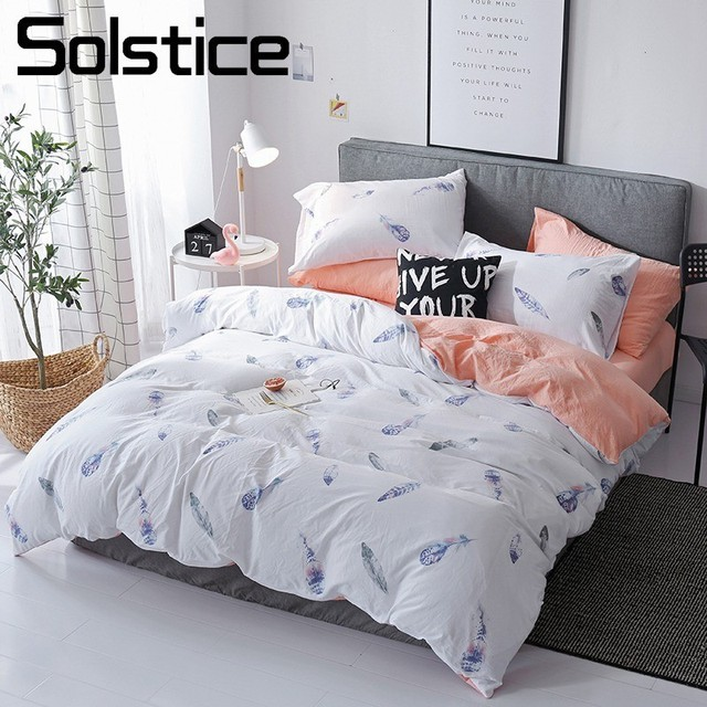US 30 OFF Solstice Home Textile White Orange Feather Printed Duvet Cover Pillowcase Bed Sheet Girl Teen Bedding Linen Set Queen Bedclothes In