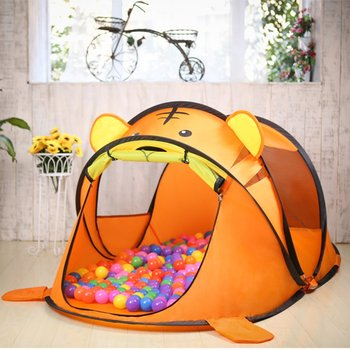 Cute Orange Tiger Pop-up Play Tent Portable Foldable Children Playhouse Kids Tent Toy Game Tents for Indoor Outdoor