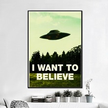 I Want To Believe Classic Canvas Art Painting Print Poster Wall Pictures For Living Room Decorative Home Decor No Frame
