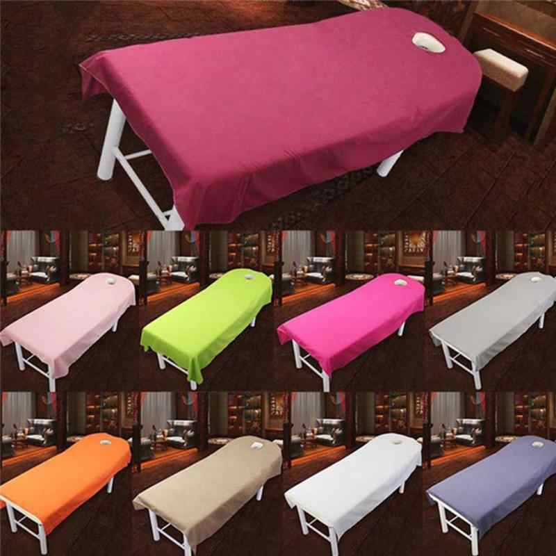 Cosmetic Salon Beds Sheets Cover SPA Massage Treatment Bed Table Cover Sheet with Hole Drop Shipping~