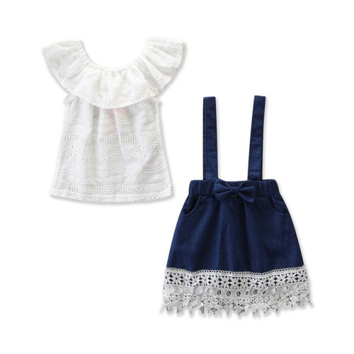Pudcoco 2Pcs Baby Kids Outfits White Short Sleeve Tops+Denim Strap Skirt Children Clothing Set