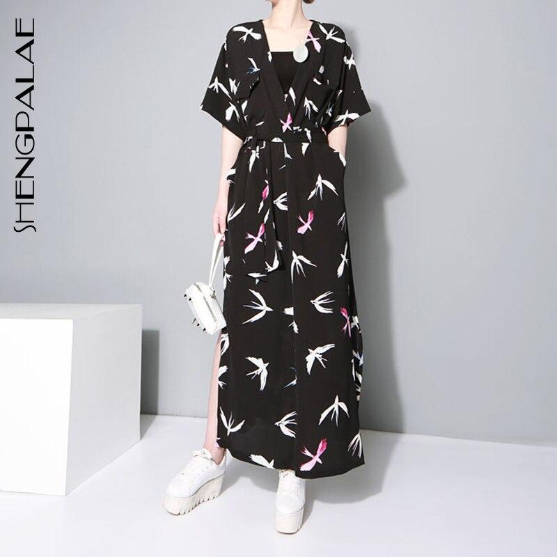 SHENGPALAE Loose New Spring Summer V-collar Short Sleeve Pattern Printed 2019 Long Big Size   Shirt   Women   Blouse   Fashion JU183