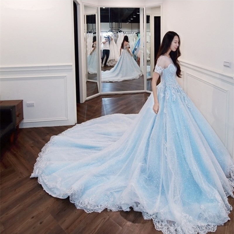 Katristsis d 2019 New robe de mariage O-neck Real Photos wedding dress turkey Luxury Cathedral Train blue Wedding Dress