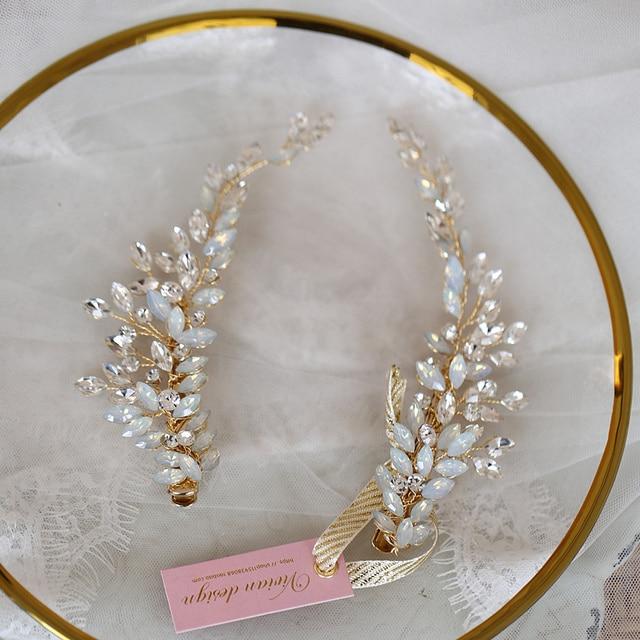 Crystal Bridesmaid Headdress Opal Bridal Hair Clip Hairpin Handmade Gold Bride Head Piece For Women Wedding Party Accessories