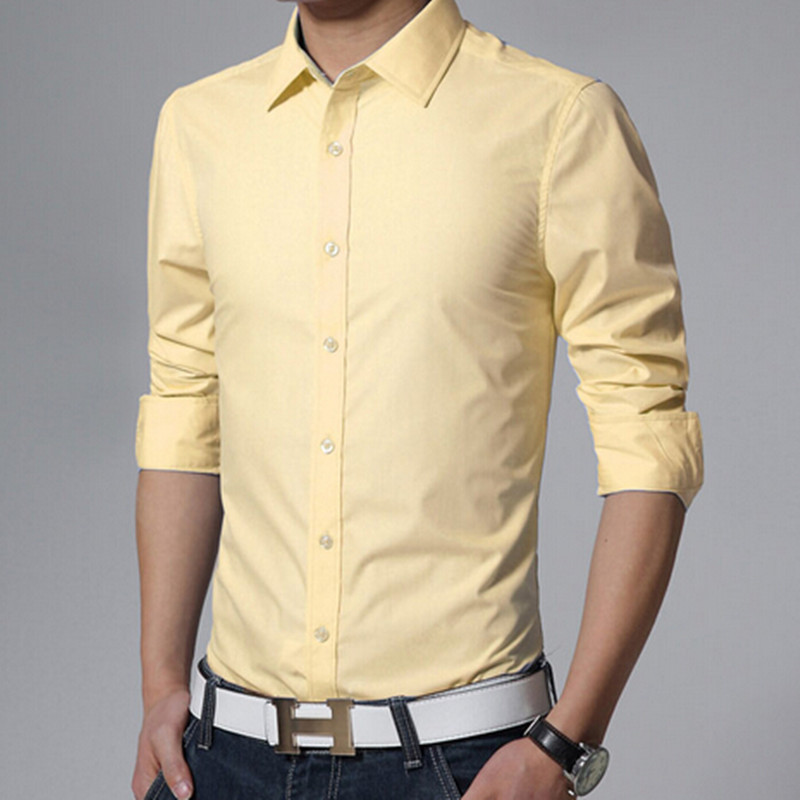New 2018 Men 39 s Pure Cotton Shirt Slim Fit Fashion Long Sleeve Casual Business Shirts Men Dress Shirts High Quality Camisas in Casual Shirts from Men 39 s Clothing