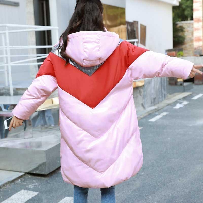 Bas Lumineux Veste Rose Femelle Couture Long Mode Femmes Hiver Ls37 Vers Le Couleur Rembourré Manteau Femme D'hiver 2018 Parka Pink 46EY06dwq