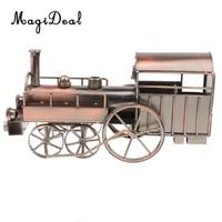 Antique Metalwork Locomotive Train Model Toy Collectible Handmade Art Sculpture for Home Office Decoration