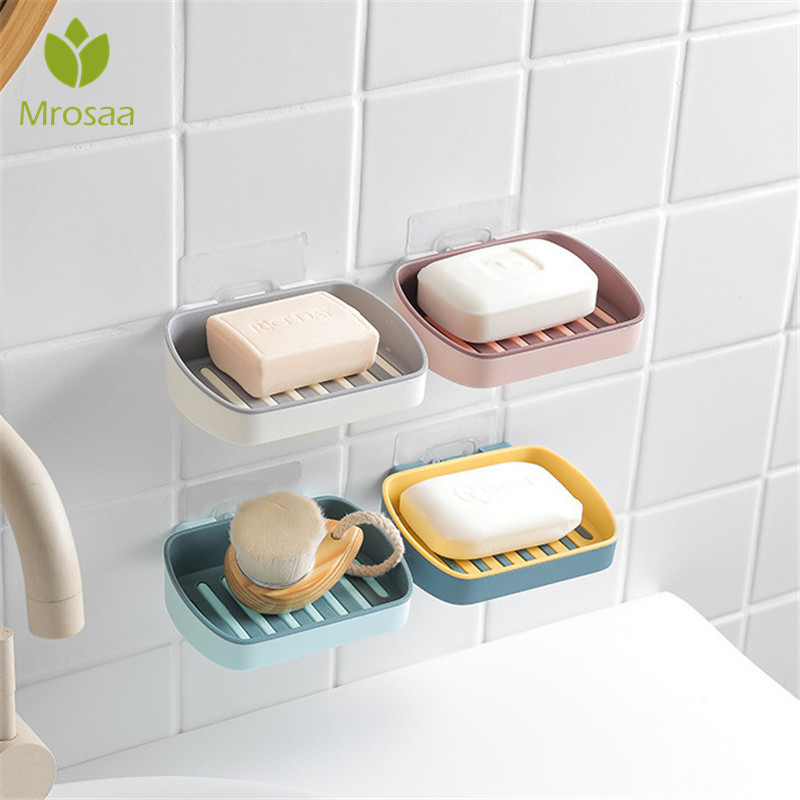 Soap Dish Bathroom Kitchen Wall-Mounted Quick Drain Suction Cup Soap Shelf Holder Domestic Sponge Soap Box Hanging Rack Portable