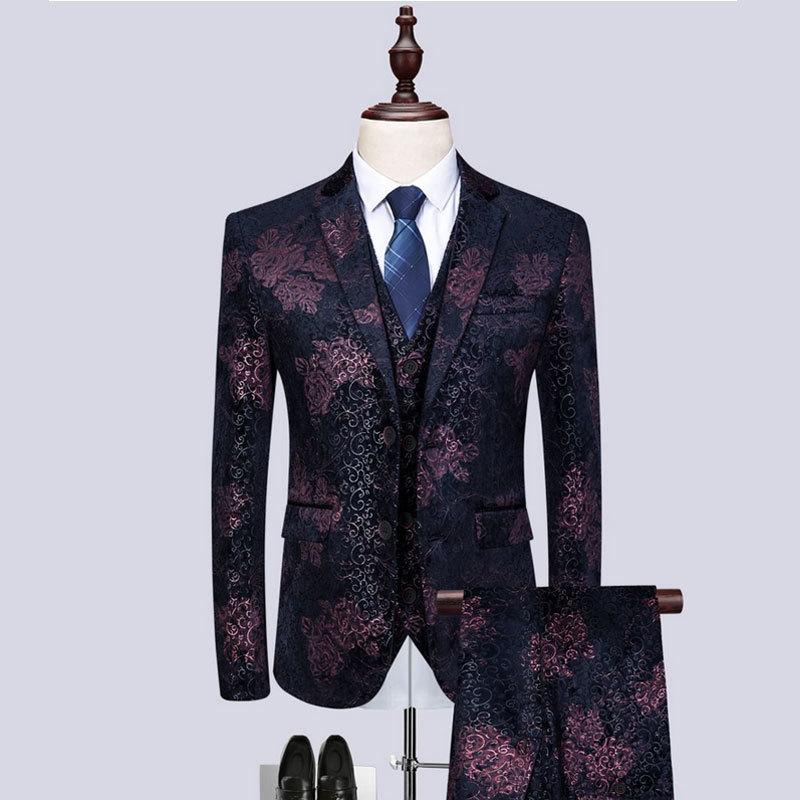 Gwenhwyfar 2019 New Tuxedos Dark Red Party Tuxedo Jacket Sets Wedding Suits For Men Custom Made
