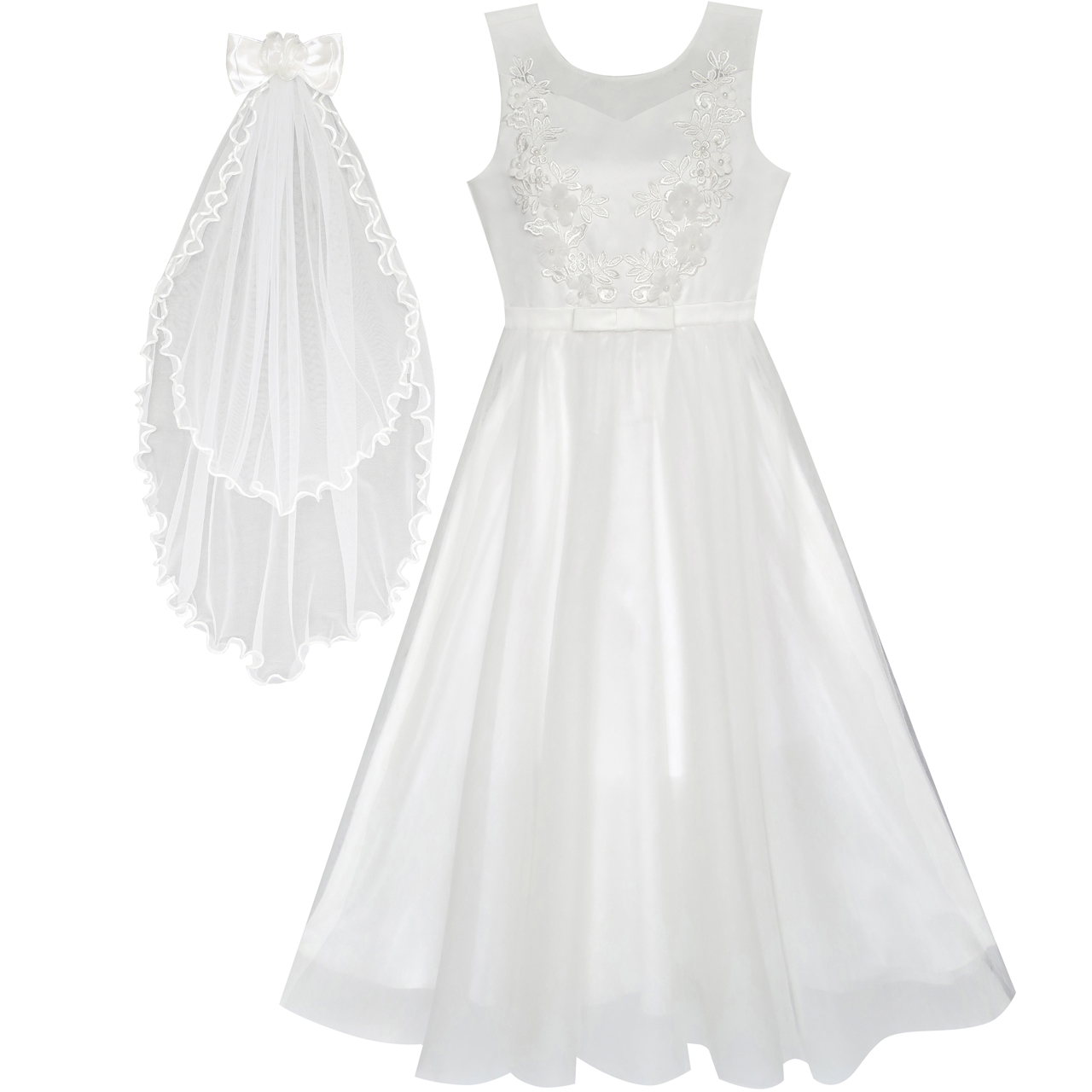 Wedding Dress White Vs Off White: Flower Girls Dress Off White Wedding Veil First Communion