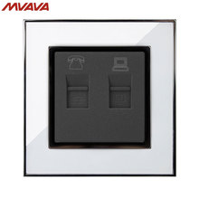 MVAVA Universal Phone and Computer Wall Socket Luxury Mirror White Plug Port RJ45 PC Network + RJ11 TEL Outlet Free Shipping