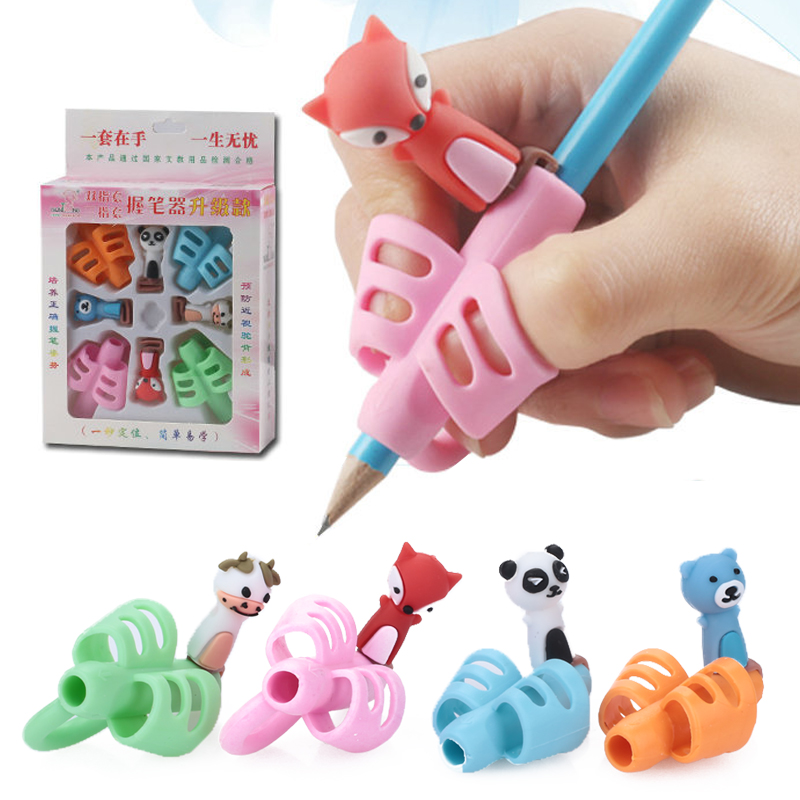 8Pcs/Box Two-Finger Pencil Grip Silicone Boys And Girls Learning Writing Correction Tool Device Child Stationery Gift  Corrector