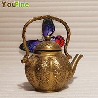 Bronze carved pumpkin copper pot copper pot portable pot teapot antique crafts practical ornaments