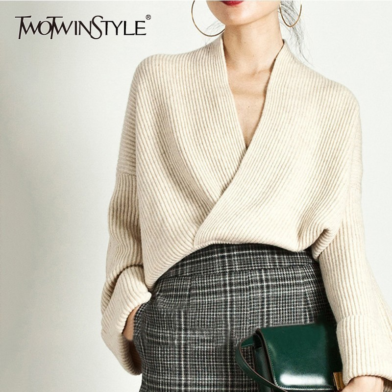 TWOTWINSTYLE Elegant Knitting Sweater Women Long Sleeve V Neck Pullover Tops Female Casual Fashion Knitwear 2019