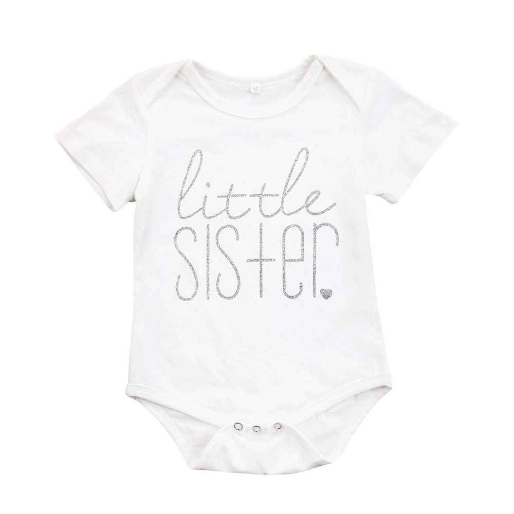 Toddler Kids Baby Boys Girls Brother Letter Print T-shirt Little Sister Bodysuit Summer Bro Sis Matching Clothes