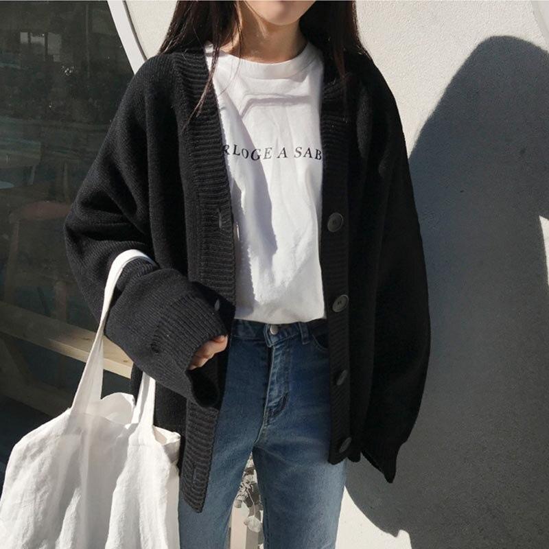 e11f35d009e Otoño gris Mujeres Outwear Beige Invierno Punto Preppy Mujer Las Suéter  negro Estilo Chaqueta 2019 Abrigos ...