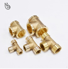 """Tee Type Brass Pipe Fitting Adapter Coupler Connector For Water Fuel Gas 1/8"""" 1/4"""" 3/8"""" 1/2"""" 3/4"""" 1""""BSP Female Thread 3 Way"""