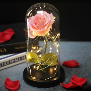Image 4 - Beauty and the Beast Natural Decorative Flower In A Glass Dome On A Wooden Base For Romantic Valentines Gifts LED Rose Lamps Mo