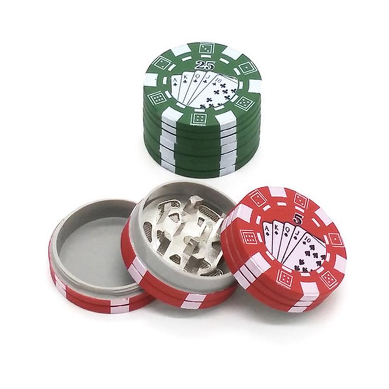 3 Strati Di Chip Di Poker Style Erbe A Base Di Erbe Tabacco Grinder Weed Smerigliatrici Accessori Per Tubi Di Fumare Gadget Rosso/verde/nero Dropshipping